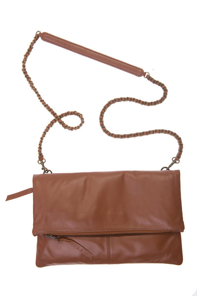 Italian Leather Tan Foldover Bag Was £69