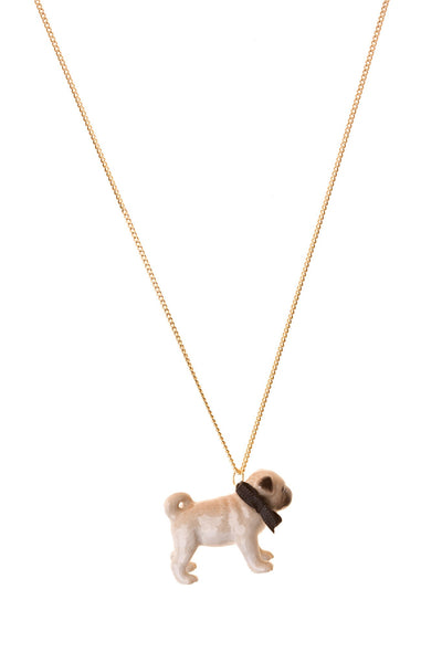 small porcelain pug necklace with black bow