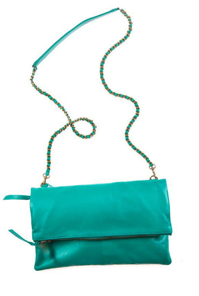 Italian Leather Jade Foldover Bag Was £69