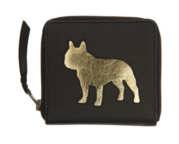 Black Leather Single Bulldog Cut Out Purse, was £50