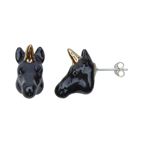 Black & Gold Unicorn Head Studs, was £40