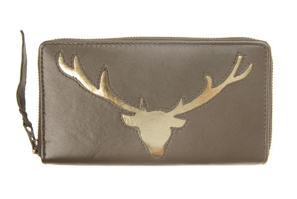 Black Leather Stag Cut Out Purse, was £50
