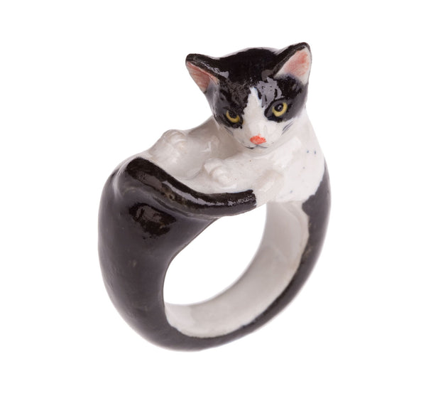 Perfectly Imperfect Black & White Cat Ring Was £35