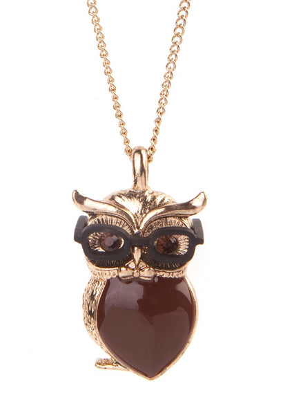 Enamel Owl With Glasses Necklace, was £18