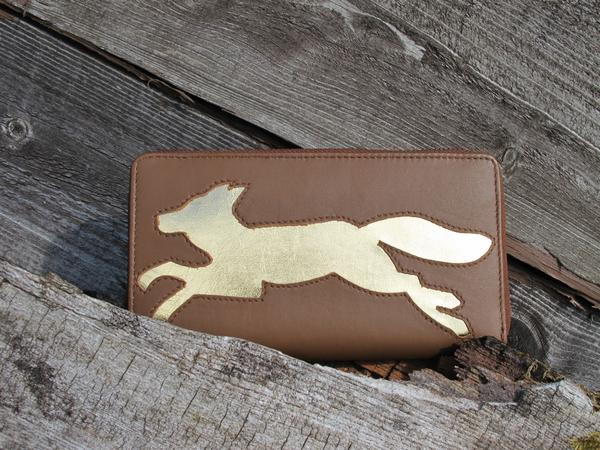 Brown Leather Running Fox Cut Out Purse, was £50