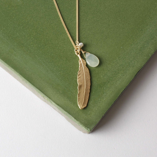 Gold Feather, Jade and Pearl Charm Necklace Was £18