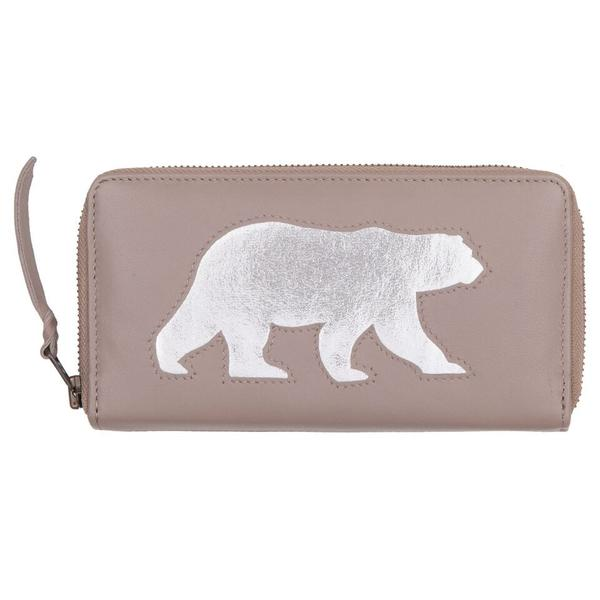 Putty Grey Leather Polar Bear Cut Out Purse, was £50