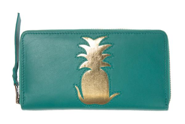 Jade Leather Pineapple Cut Out Purse, was £50