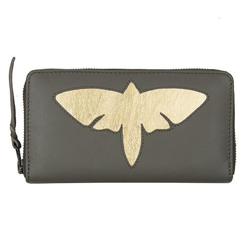 Grey Leather Moth Cut Out Purse, was £50