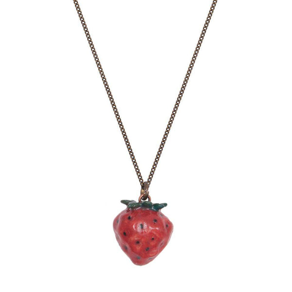 Perfectly Imperfect Tiny Natural Strawberry Necklace Was £27