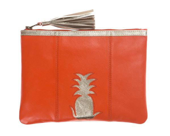Orange Pineapple Cut Out Zip Top Clutch, was £60