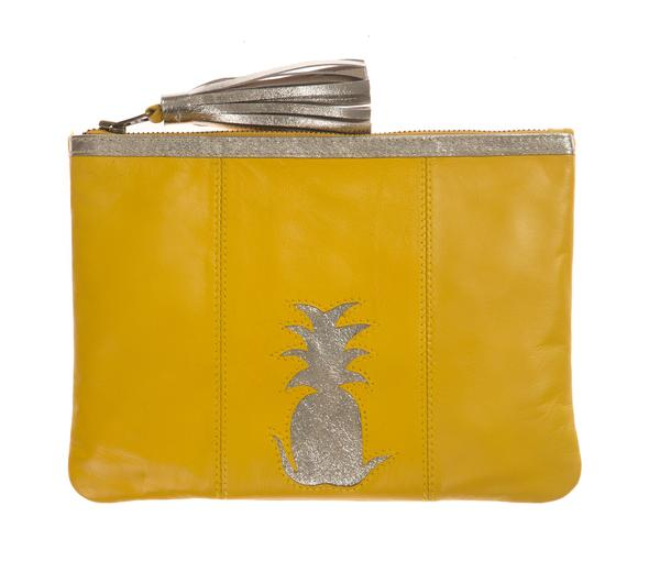 Yellow Pineapple Cut Out Zip Top Clutch, was £60
