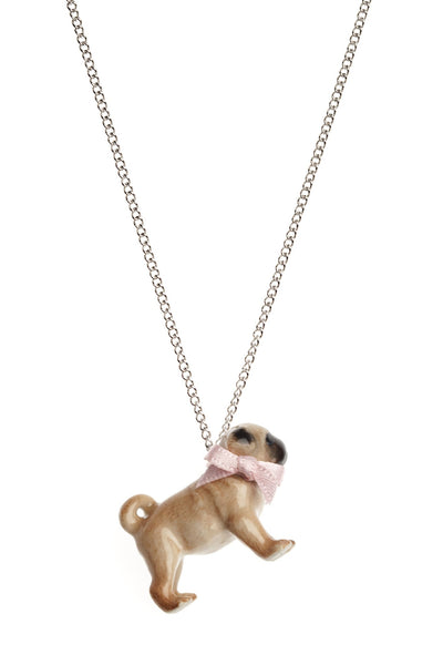 small porcelain pug necklace with pink bow