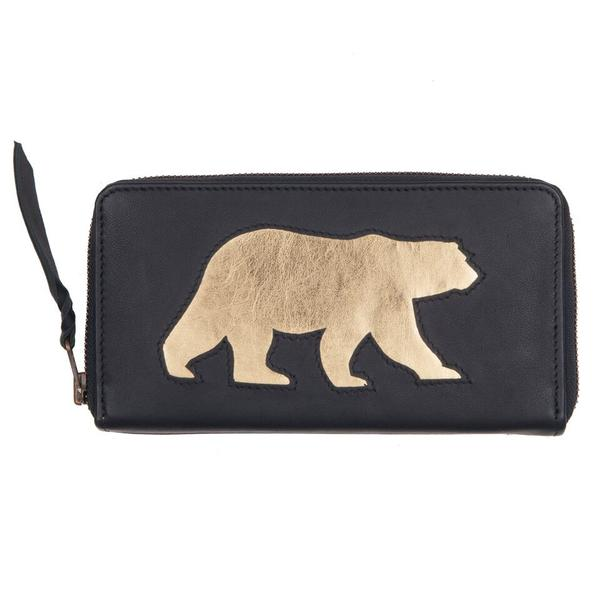 Navy Leather Polar Bear Cut Out Purse, was £50