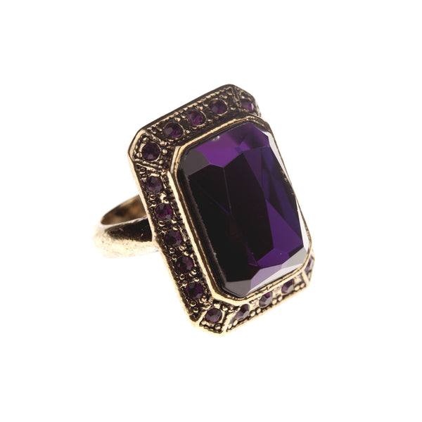 Purple Faceted Glass Stone Ring, was £18