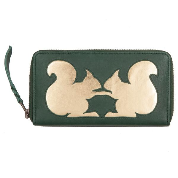 Leaf Green Leather Kissing Squirrel Cut Out Purse, was £50