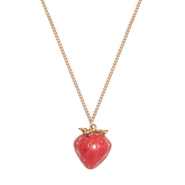 Perfectly Imperfect Tiny Gold Leaf Strawberry Necklace Was £32