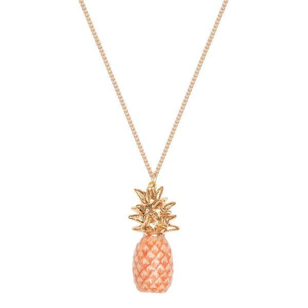 Peach Pineapple Necklace with Gold Leaves, was £35