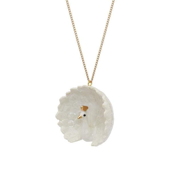 White and Gold Peacock Necklace, was £35