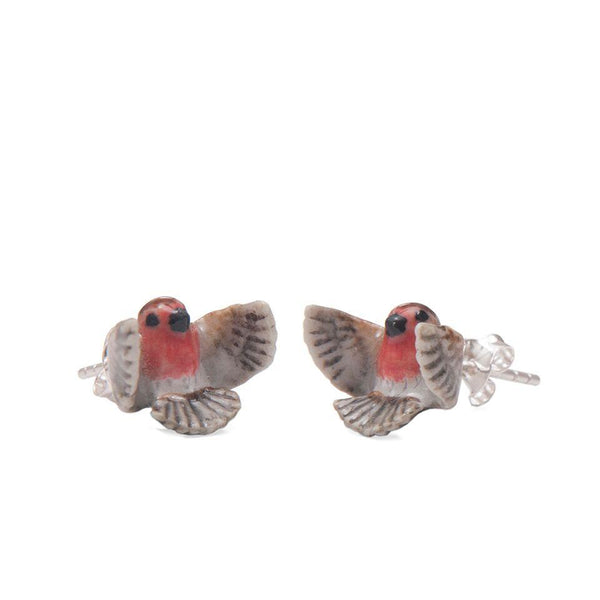Perfectly Imperfect Flying Robin Stud Earrings Was £35
