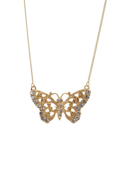 Vintage Diamante Butterfly Necklace, was £15