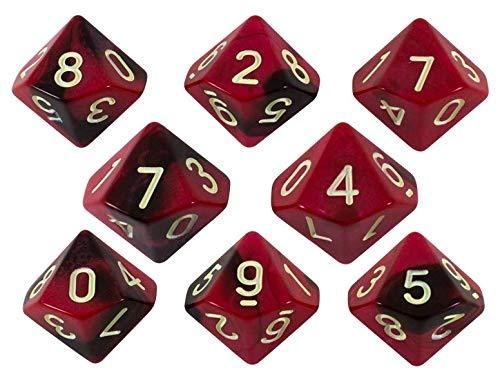 'Blood God' Red and Brown 8 D10 Dice Set