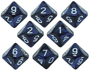 Paladin Roleplaying Blue Pearl Dice - 8 D10 Set - 'Nightfall'