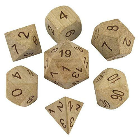 'Wildwood' Wooden DnD Dice - Full RPG Dice Set - Cherry
