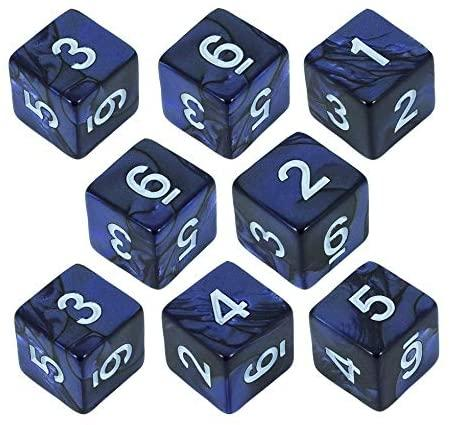 Paladin Roleplaying Blue Pearl Dice - 8D6 Set - 'Nightfall'