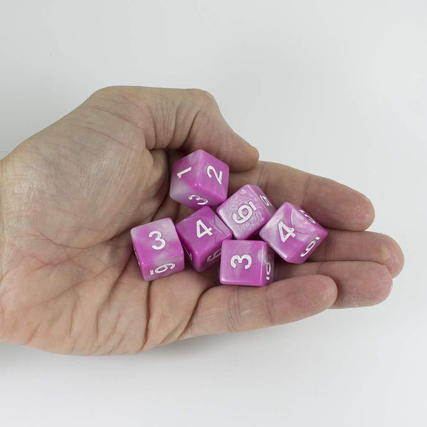 'Cherry Blossom' Pink and White Marble 6 D6 Dice Set