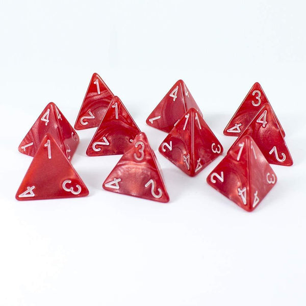 Red D4 Dice - 10D4 'Healing Potion' Set