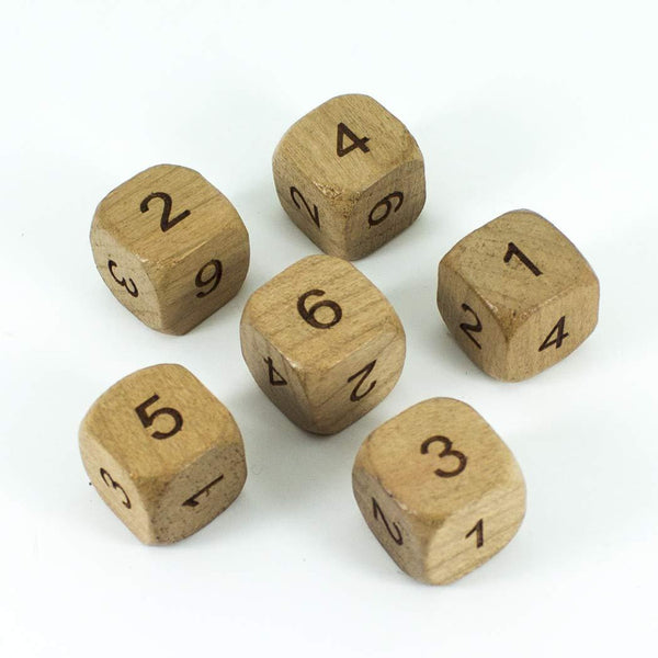 'Wildwood' Wooden DnD Dice - 6 D6 Set - Cherry