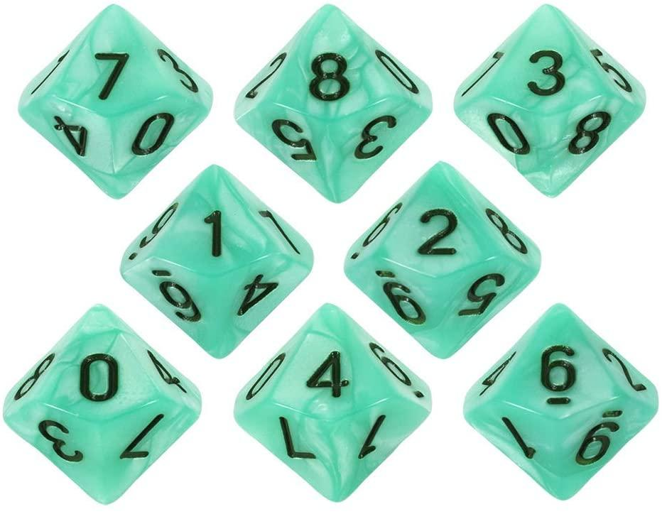 Paladin Roleplaying Turquoise Pearl Dice - 8 D10 Set - 'Aqua'