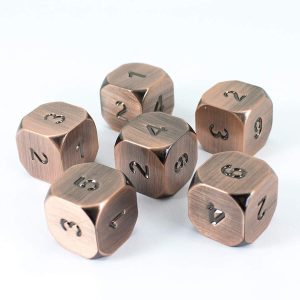 Paladin Roleplaying Bronze Metal D6 Dice - Set of Six, Antique Finish