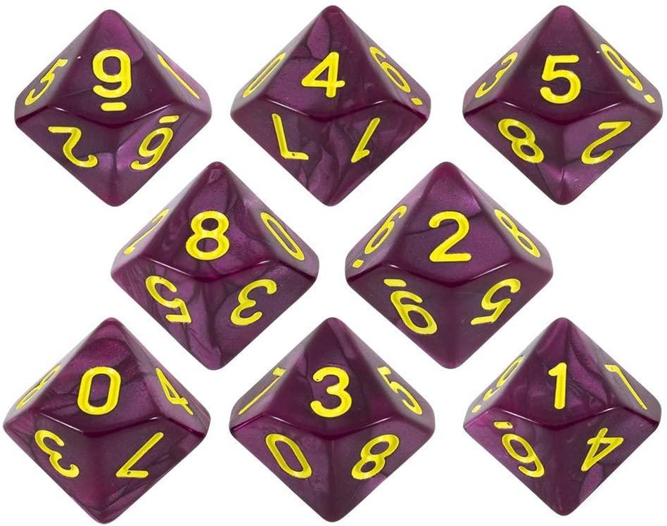 Paladin Roleplaying Purple Pearl Dice - 8 D10 Set - 'Plum'