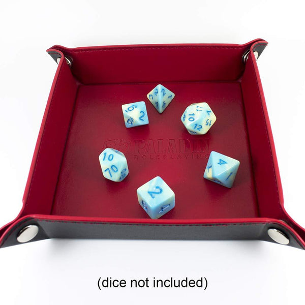 RPG Dice Rolling Tray - Small Portable Faux Leather Tray for DND