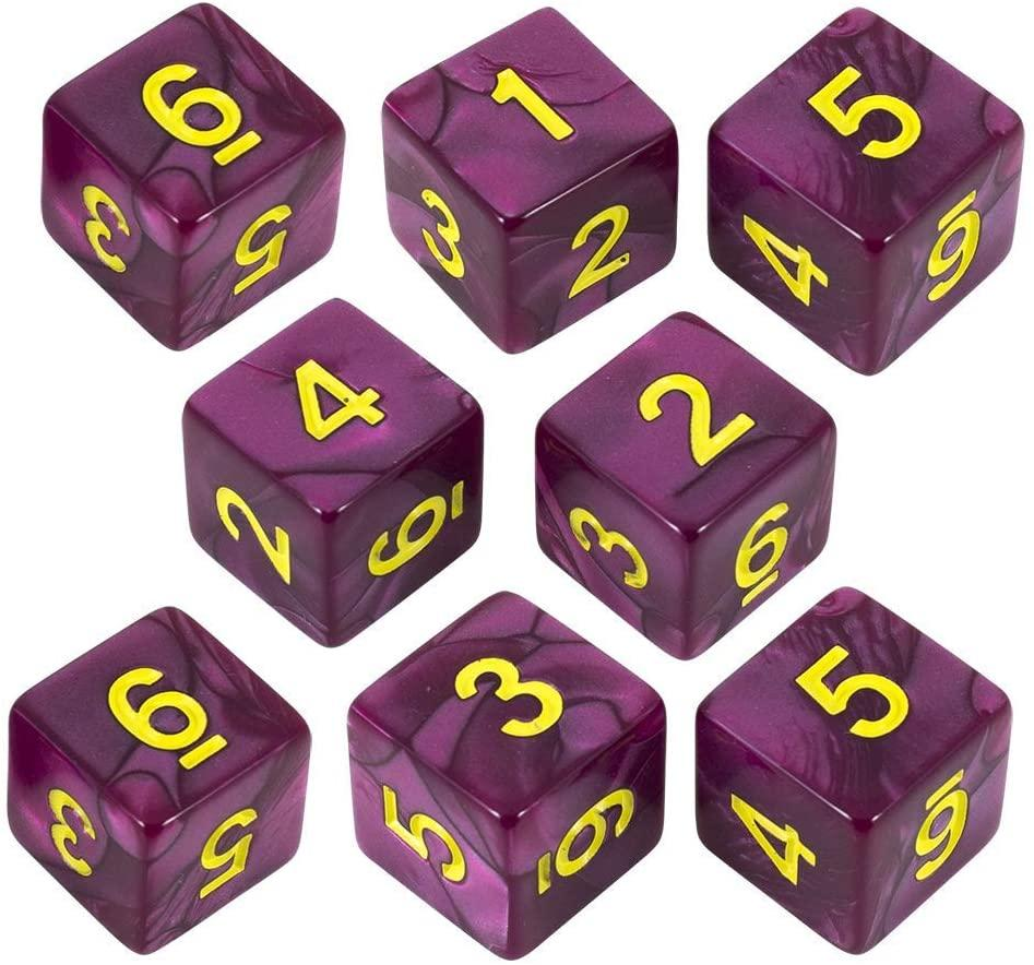 Paladin Roleplaying Purple Pearl Dice - 8D6 Set - 'Plum'