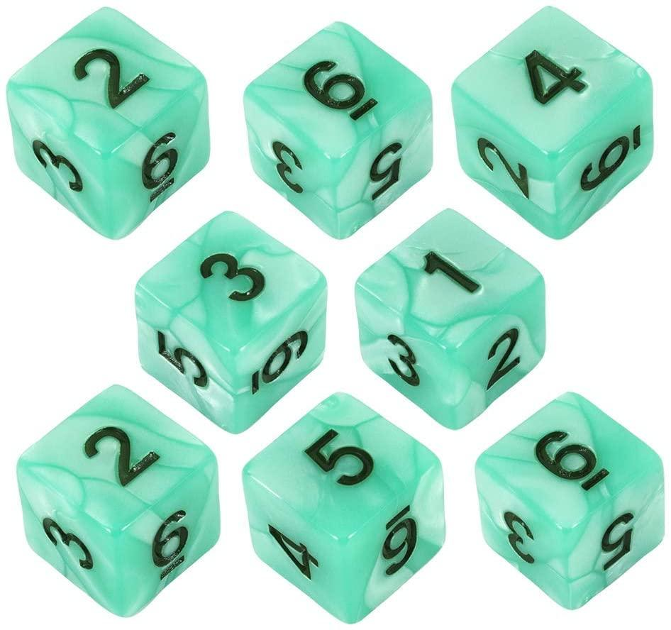 Paladin Roleplaying Turquoise Pearl Dice - 8D6 Set - 'Aqua'