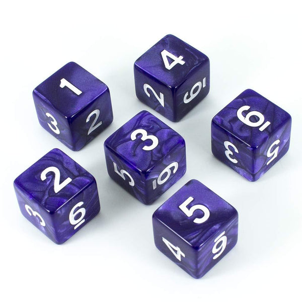 Paladin Roleplaying Purple D6 Dice - Pearl Effect - Set of Six
