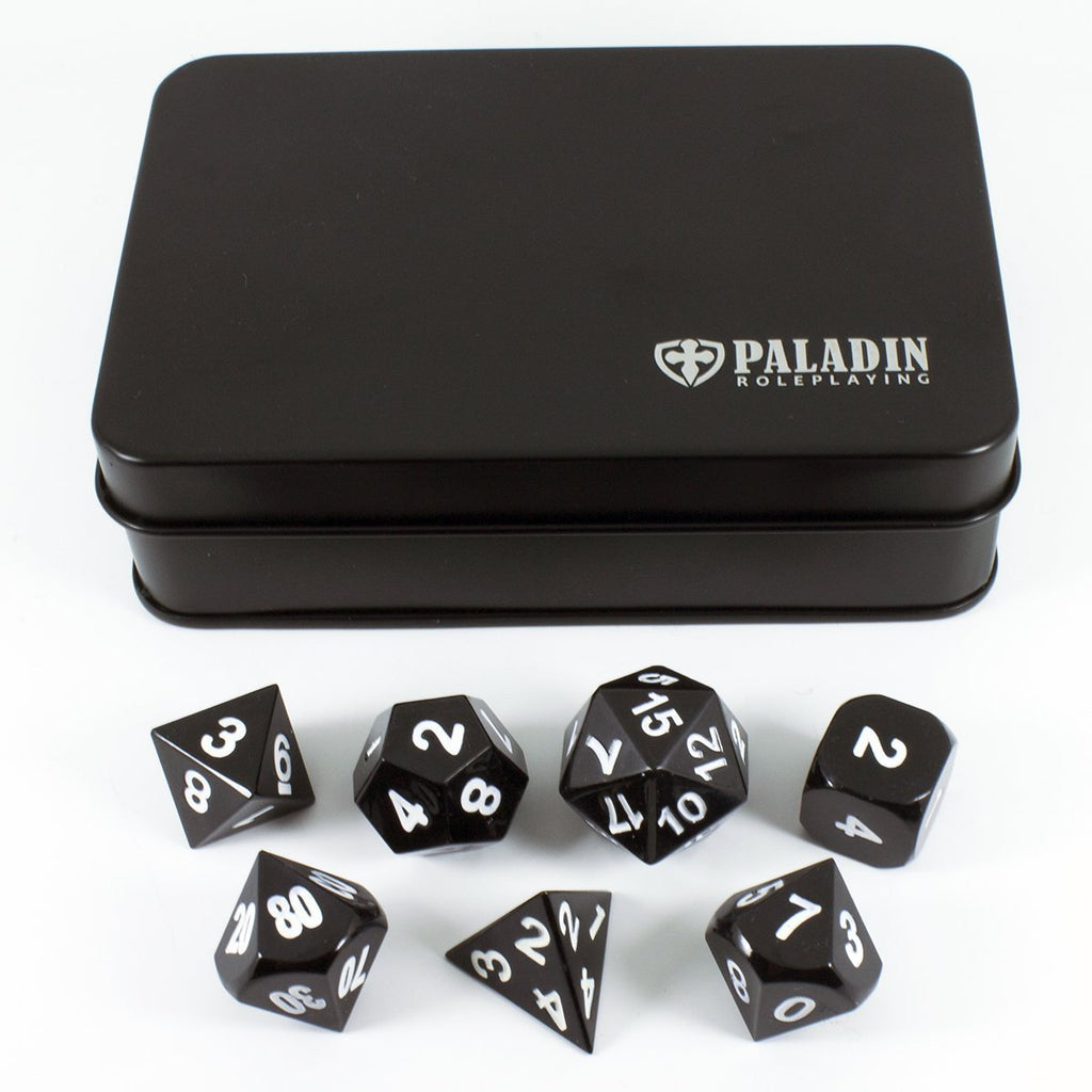 Black Metal Polyhedral Dice Set - In Presentation Case