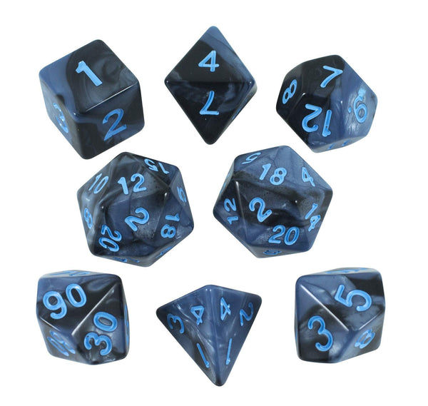 'Storm Lord' Grey and Blue Dice - Expanded Polyhedral Set With Extra D20