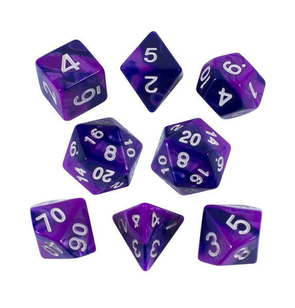 'Purple Worm' Purple and Indigo Dice - Expanded Polyhedral Set With Extra D20