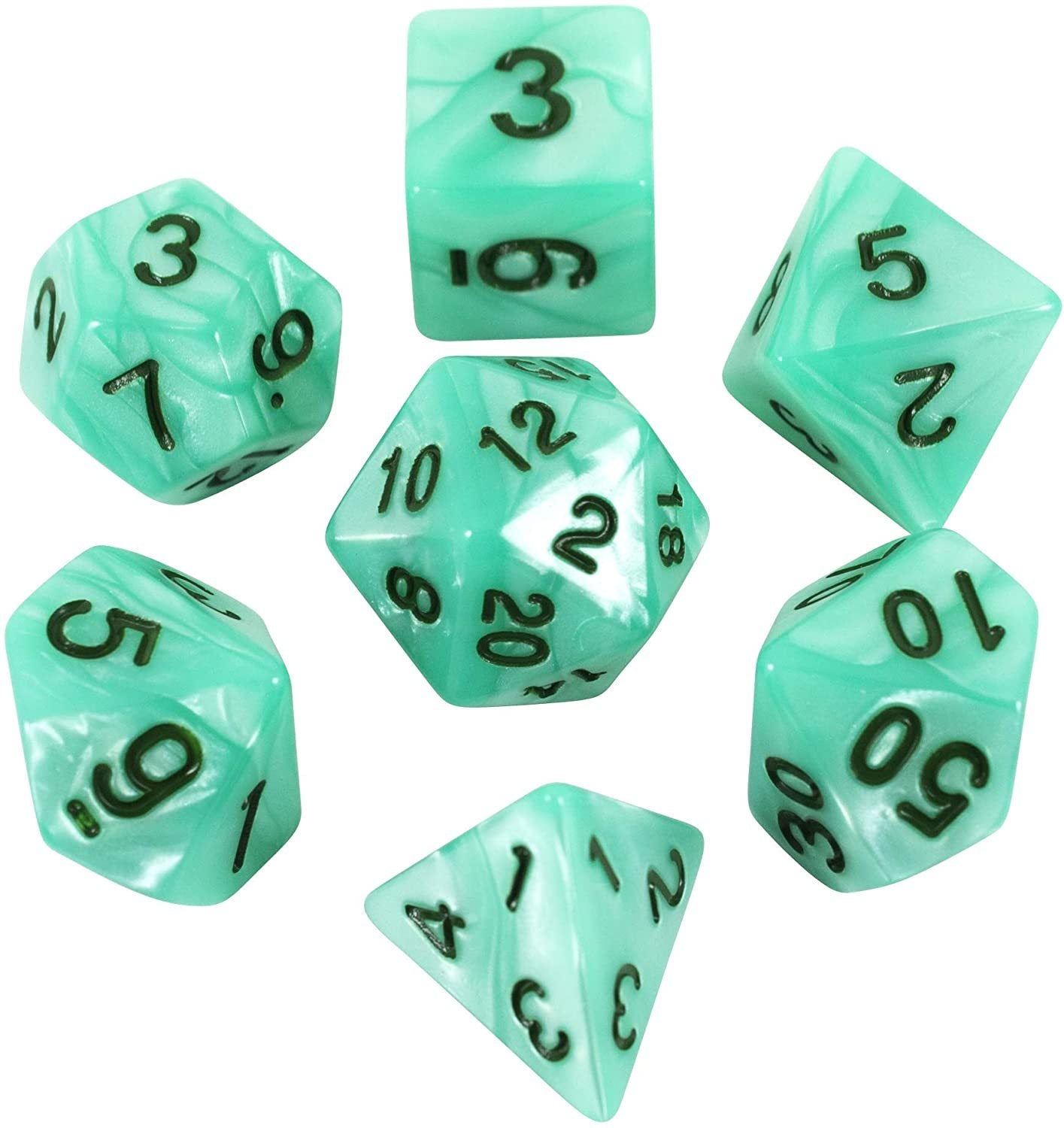 Paladin Roleplaying Turquoise Pearl RPG Dice - Full Polyhedral Set - 'Aqua'