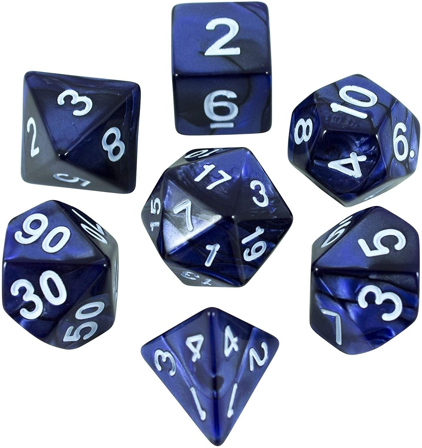 Paladin Roleplaying Blue Pearl RPG Dice - Full Polyhedral Set - 'Nightfall'