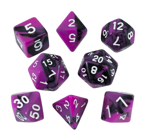 'Succubus' Magenta and Black Dice - Expanded Polyhedral Set With Extra D20