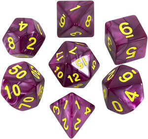 Paladin Roleplaying Purple Pearl RPG Dice - Full Polyhedral Set - 'Plum'
