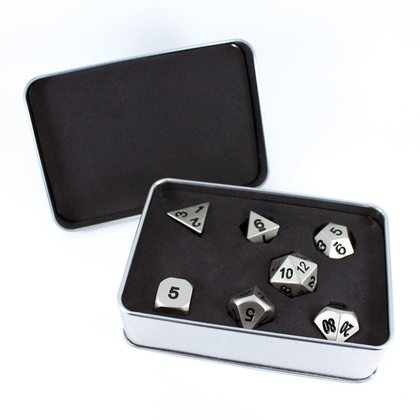Paladin Roleplaying Silver Metal Dice Set, In Presentation Case