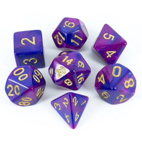 Purple And Blue Polyhedral Dice Set - 'Enchantress'