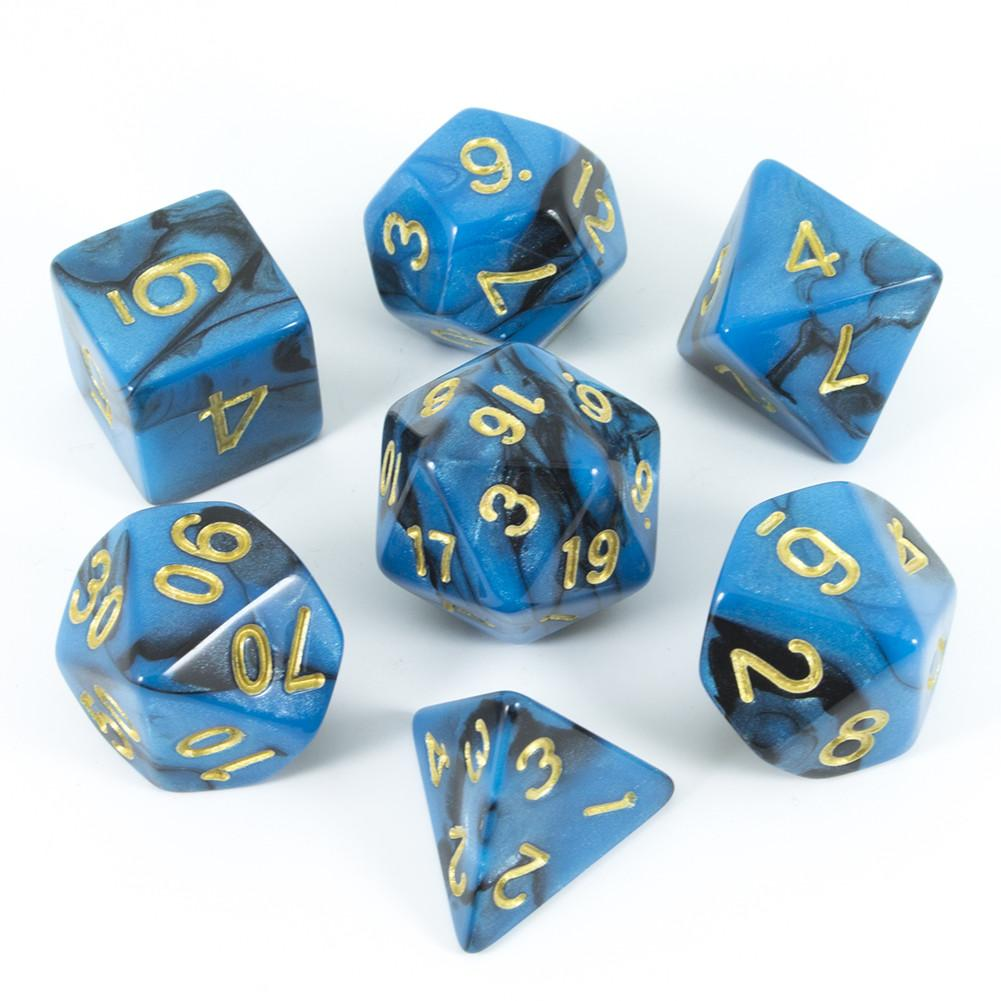 Blue And Black Polyhedral Dice - 'Undine'