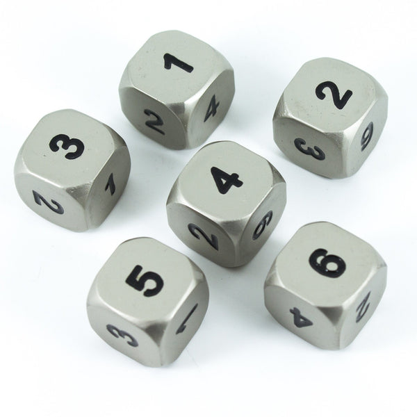 Paladin Roleplaying Solid Metal D6 Dice, Set Of Six, Silver Color